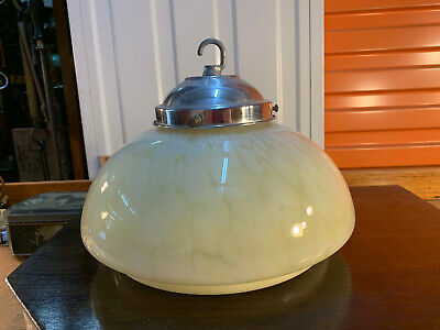 Vintage Australian Art Deco Gold Marbelised Stepped Glass Light Shade 25cm