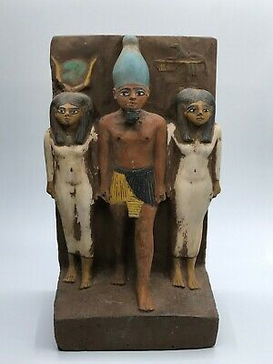 Rare ANCIENT EGYPTIAN EGYPT ANTIQUES STATUE Osiris and Nephthys and Isis 1500 BC