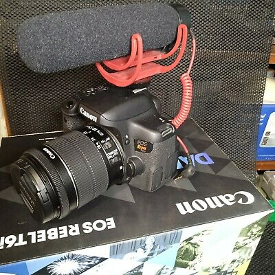 Canon Rebel T6i DSLR Camera with 18-55mm Lens Creator Kit rode Joby extras fishe