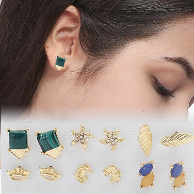 Small Stud Earrings For Women Gold Color Elephant Leaf Crown Starfish Earr#que