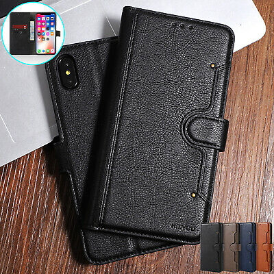 For iPhone 8 Plus 7 6 XS Max XR X Case Magnetic Leather Card Pocket Wallet Cover