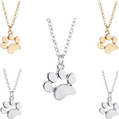Pet Lover Necklace Lovely Dog Paw Footprint Pendant Family BFF Memorial Gifts