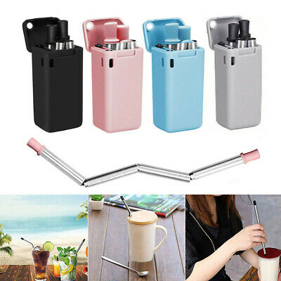 Collapsible Reusable Straws Stainless Steel Food-grade Silicone Straw With Case