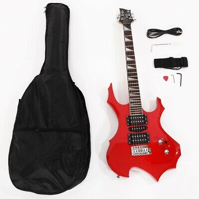 Burning Fire Basswood Electric Guitar w/ Bag Shoulder Strap Tools Red