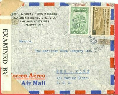 Costa Rica 2 diff stamp used on LIBRARY Advertising cover Censor to USA 1942