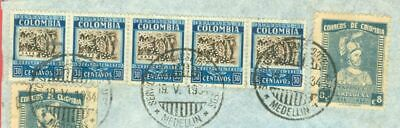 Colombia Topic COFFEE / CAFE 30c Strip of 5 ++ used on cover to UK GB 1934