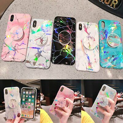 Marble Case Soft TPU Case with Pop Up Socket Phone Holder For iPhone XR 6S 7 8