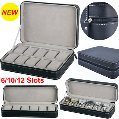 6/10/12 Slots Portable Travel Zipper Watch Collector Storage Jewelry Box Case