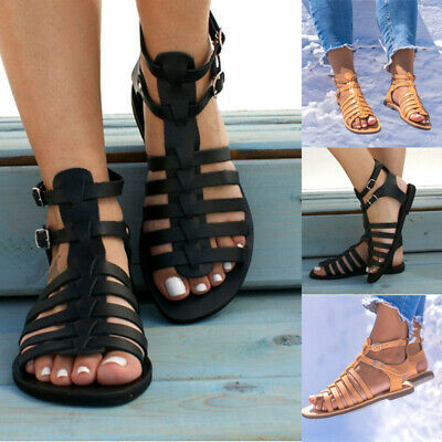 New Womens Cut Out Roman Gladiator Sandals Ladies Buckle Summer Flat Shoes Sizes