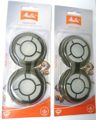 2 x PACKS OF 2 MELITTA PERMANENT FILTER PAD PHILIPS SENSEO COFFEE 6540203X2