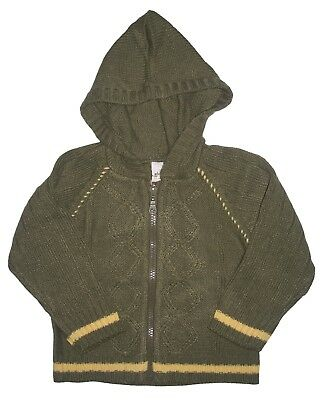 NEW Baby Boys Cable Knit Hooded Cardigan Age 0 3 Months Knitted Hoody Cardy NWT