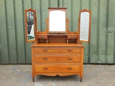 antique arts & crafts mahogany vanity dressing table with treble mirrors gallery