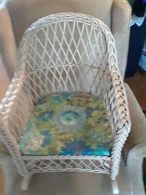 Vintage Wicker Child Rocking Chair Intricate Detail Rocker Antique