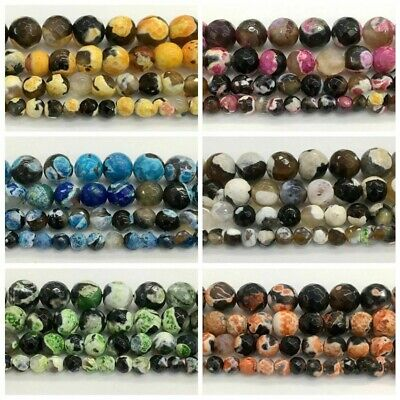 "Assorted Natural Stone Faceted Fire Agates Beads 16""/Strand"