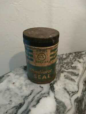 Old Vintage Antique cities service radiator seal can tin metal advertising rare