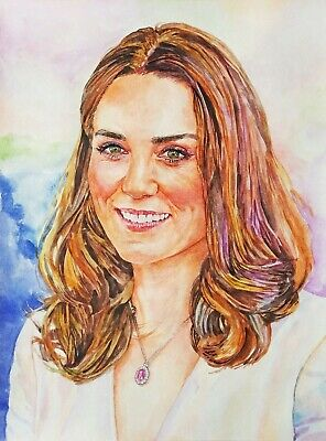 "11.69 × 15.75"" Kate Middleton watercolor SIGNED and DATED"