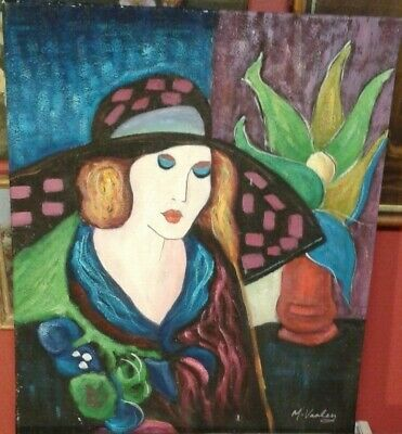 Fine 20th c, French Oil on Canvas.Stylish Lady Wearing a Hat Study. Signed.