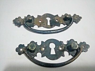 Wooden BOX Drawer Pull 2 Handles Antiques Brass British Old