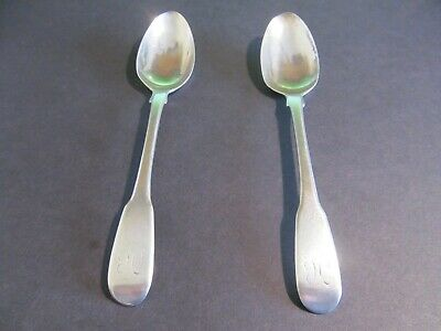 Georgian Sterling Silver Pair Of Teaspoons London 1802