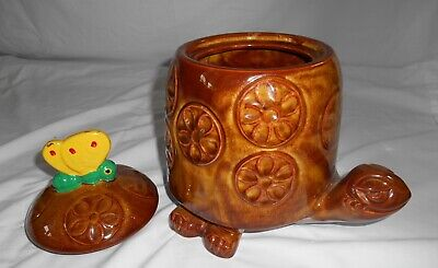 Vtg Mccoy Cookie Jar ~ Timothy Turtle #271 Yellow Butterfly Lid
