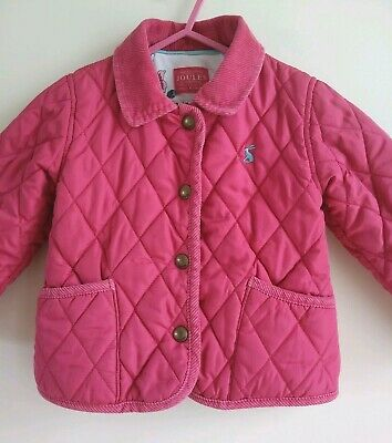 JOULES BABY GIRLS LONG SLEEVE PINK QUILTED COAT w CORDUROY NECKLINE ~ 18-24 MTHS
