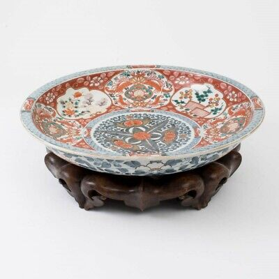 "Antique Japanese Imari Charger with Hand Carved Hardwood Stand 18.75""D Gold Gilt"