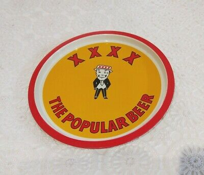"""XXXX metal beer tray with Mr Fourex wearing his boater hat """"The Popular Beer"""""""