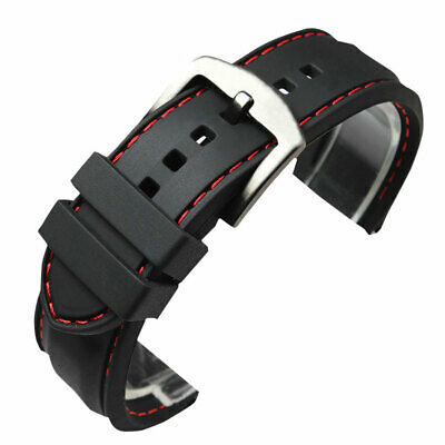Black Silicone Rubber Watch Strap Band Waterproof Watchband Red Line Stitching