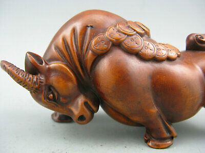 Antique Old Chinese Boxwood Hand Carved Oxen Statue Collectible