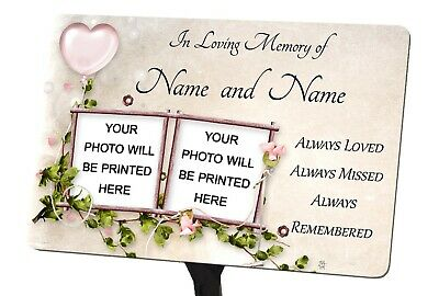 Personalised Memorial Plaque & Stake for 2 Photos, garden, grave, Mum, Dad etc