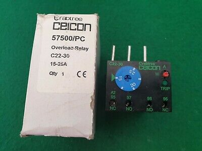 57500/PC Crabtree Ceicon Overload Relay 15 - 25 Amp
