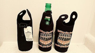 Lot of 3 New Black Neoprine Can Bottle Beer Koozie w/clip hook & handle Coozie