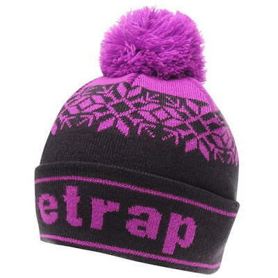 New Firetrap Snow Beanie Hatpom Pom Junior Size Winter Hat Purple Or Grey /Black