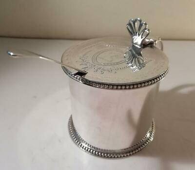 An Antique George III Silver Drum Mustard Pot & Blue Glass Liner : London 1776