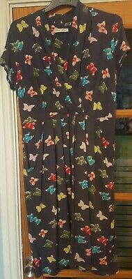 Womens Laura Ashley grey cap sleeved Butterfly Print Stretch Dress Size 12 14
