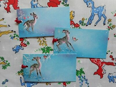 Six unused vintage kitsch retro 70's Christmas gift tags - deer, fawn, Bambi