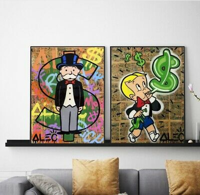 Alec Monopoly 2 Pieces Home Decor Room HD Canvas Print Wall Art Painting