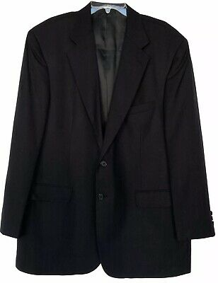 Towncraft Men's Navy Blue Pinstriped 💯 Wool Blazer/Jacket Fully Lined Size 46L