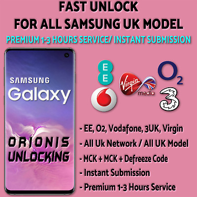 SAMSUNG UNLOCK CODE S10 S9 S8 S7 S6 S5 PLUS EE O2 Vodafone 3 UK Virgin Tesco UK