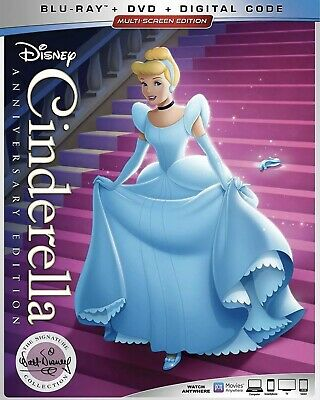 Disney Cinderella  Anniversary Edition(Blu-Ray+Dvd+Digital)W/Slipcover New