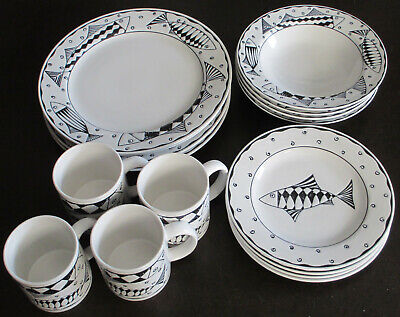 Sakura Port of Call Oceana Fish Dinner 4 Piece Placesetting for 4 total of 16