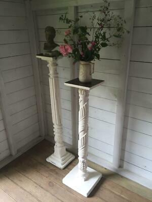 Pair of Vintage Antique Cream Torcheres Flower Plant Candle Stands