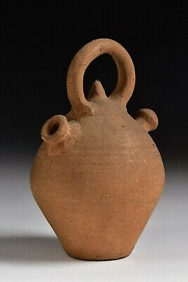 Small Ancient Roman Terracotta Pottery Handled Vessel