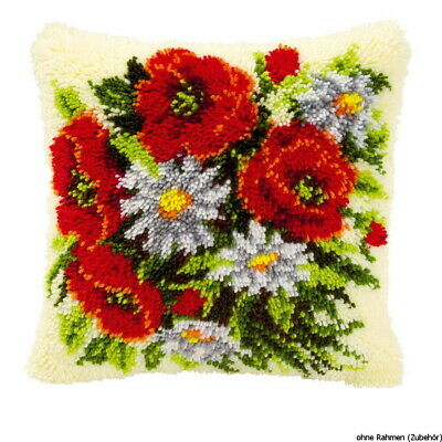 Vervaco Latch hook kit cushion Roses and daisies, DIY