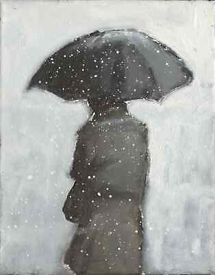 Original Expressionist Modern Painting WALKING with UMBRELLA in SNOW Charveys