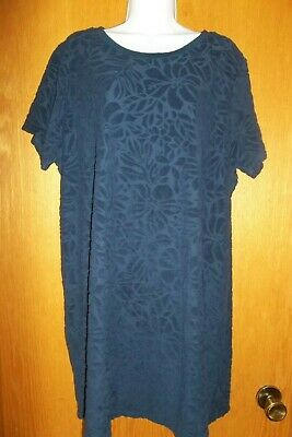14a5449b91 LANDS END navy terry cloth SWIMSUIT COVER UP DRESS Womens Medium 10-12 s115
