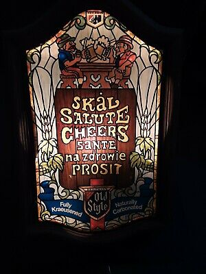 Vintage Heileman's Old Style Beer Skal Salute Cheers Sante Prosit Lighted Sign