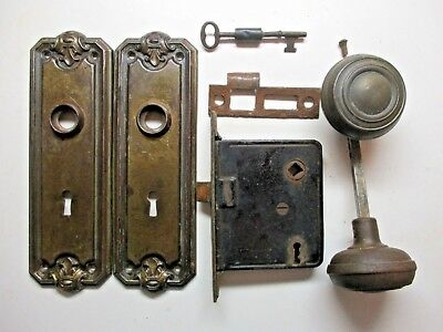 Antique 1800s Mortise Lock Knob Set W/ Tall Backplates & Key Works Right Handed