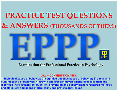 PSYCHOLOGY EPPP PRACTICE Tests Answers Study Materials THOUSANDS OF QUESTIONS
