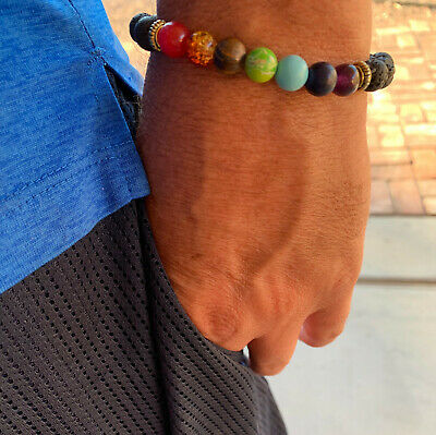 Men Women 7 Chakra Healing 8mm Beaded Diffuser Lava Stone Bracelet Yoga USA